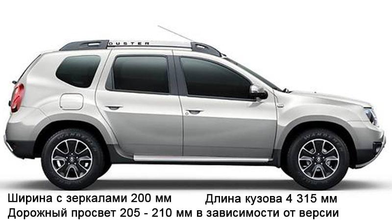 размеры кузова Renault Duster